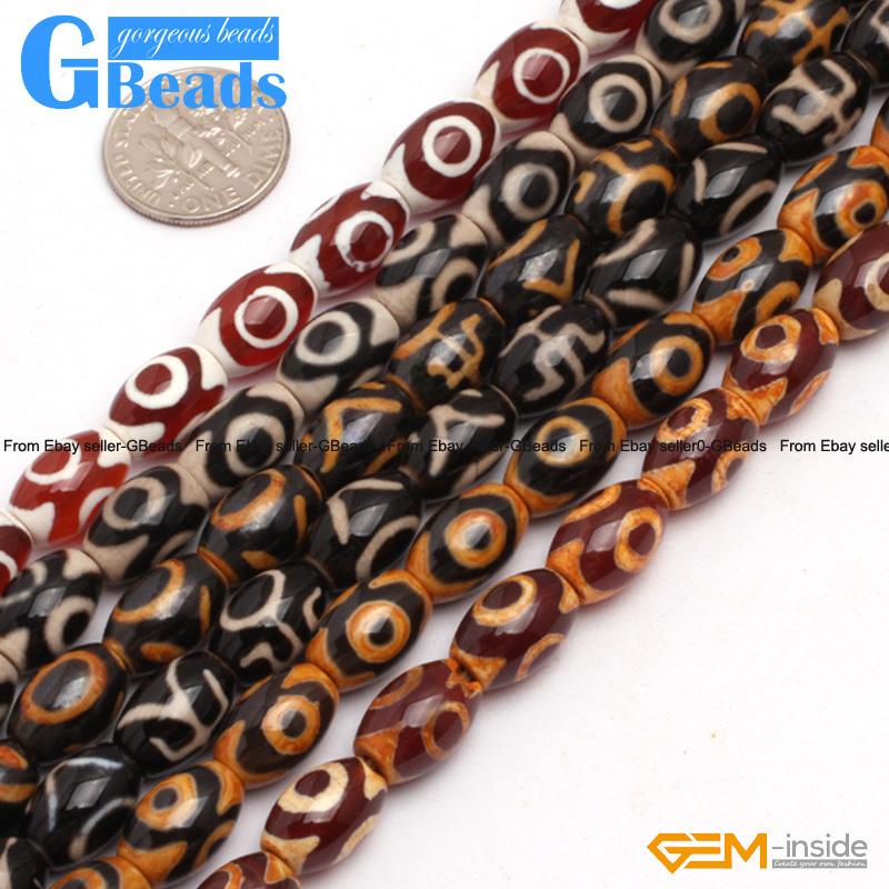 8x12mm Antique Tibetan Agate Dzi Gemstone Olivary Rice Beads For Jewelry Making