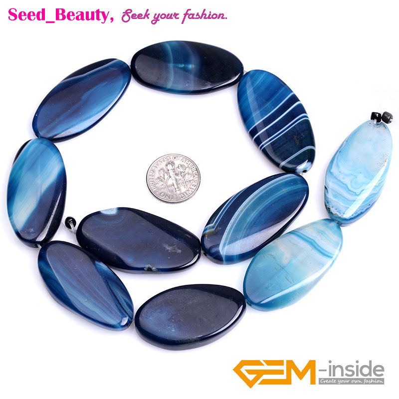 """Natural Oval Banded Agate Sardonyx Gemstone Beads For Jewelry Making Strand 15/"""""""