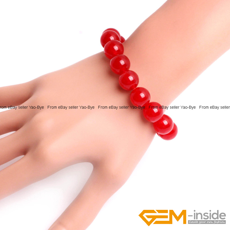 Wholesale-Lot-Handmade-Fashion-Jewelry-Assorted-Colors-Beaded-Jade-Bracelet-7-5-034 thumbnail 21