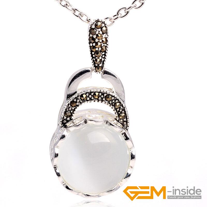 c0db7428ab333 18mm Coin Gemstone Beads Tibetan Silver Marcasite Jewelry Charm ...