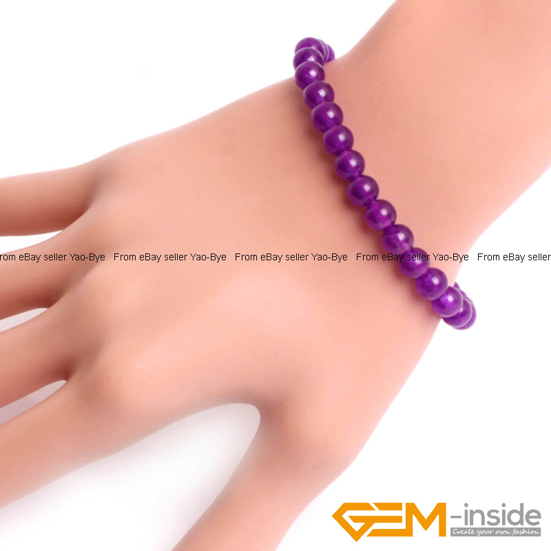 Wholesale-Lot-Handmade-Fashion-Jewelry-Assorted-Colors-Beaded-Jade-Bracelet-7-5-034 thumbnail 37