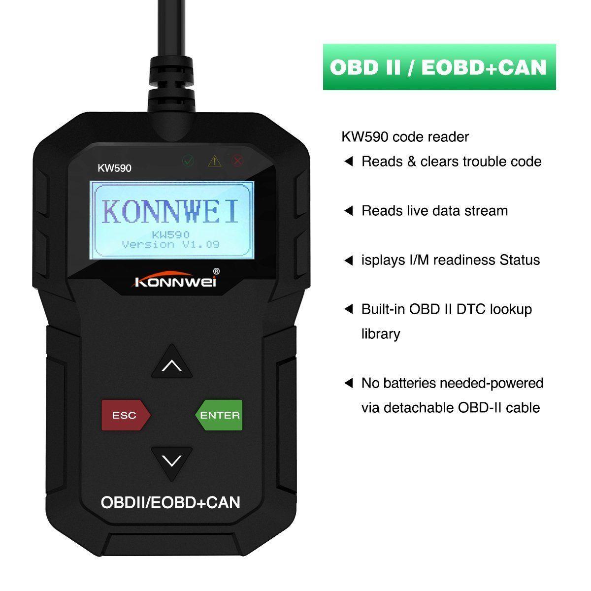 Kw590 Obdii Obd2 Eobd Auto Car Engine Scanner Code Reader