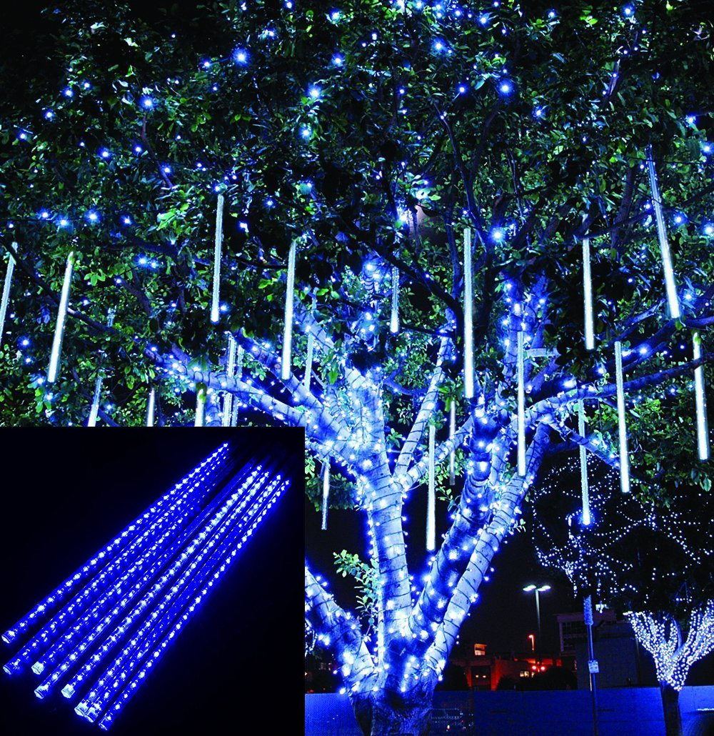 blue led meteor shower rain drop icicle snow lights christmas in