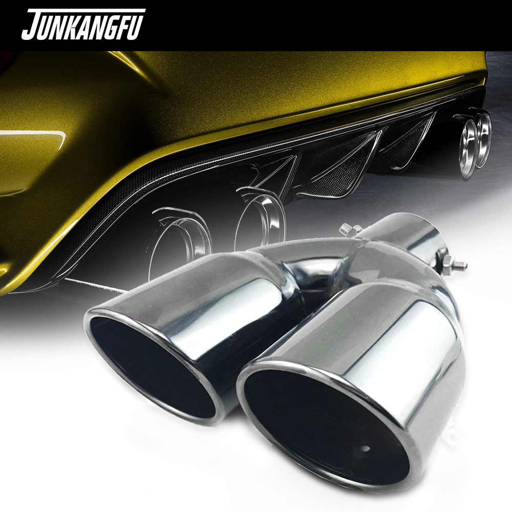 "Durable Titan Black Stainless Steel Dual Exhaust Tip 2.5/"" Inlet Car Muffler Pipe"