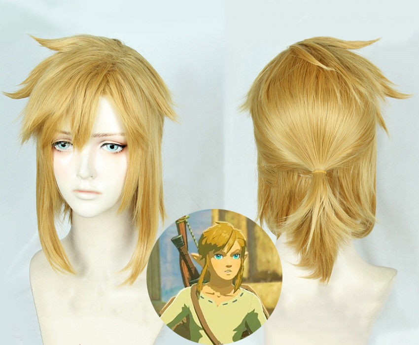 Details About The Legend Of Zelda Breath Of The Wild Link Cosplay Dark Gold Hair Wig Anime