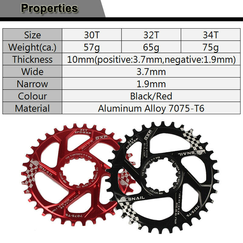 SNAIL MTB Bike GXP 30-40T Chainring 3mm//6mm Offset Narrow Wide Teeth Sprocket US