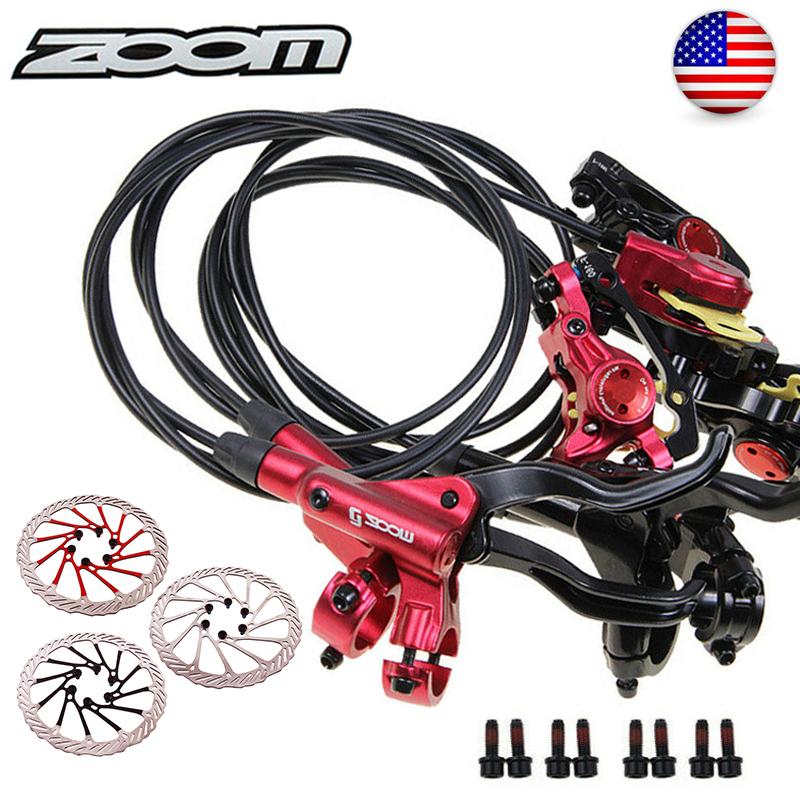 ZOOM HB875 MTB Bike Hydraulic Disc Brake Set 160mm Rotor Disc Brake 6 Bolts US