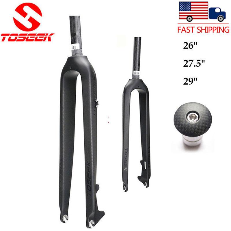 "Full Carbon Mountain Bike Fork 1-1//8/"" Disc Brake MTB Bicycle Forks 26//27.5//29er"