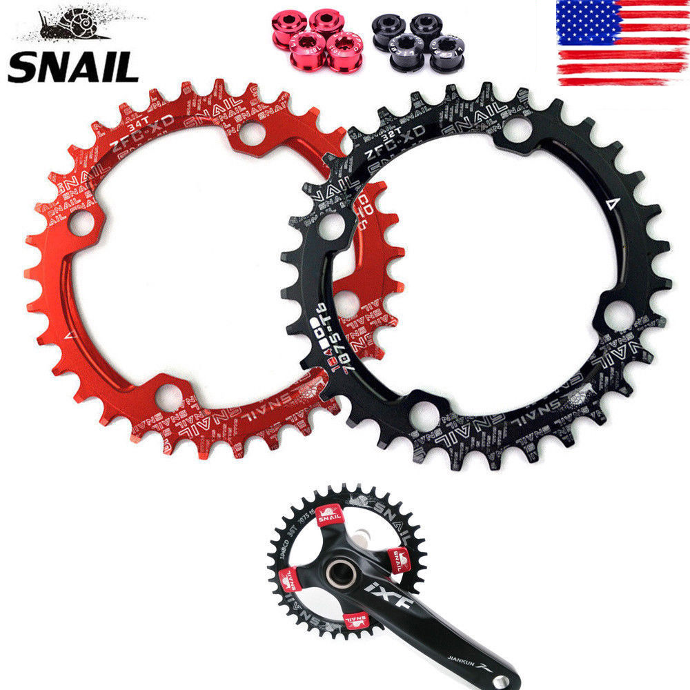 SNAIL MTB Bike ChainRing Alloy Single Narrow Wide Oval Round Chainring BCD 104mm