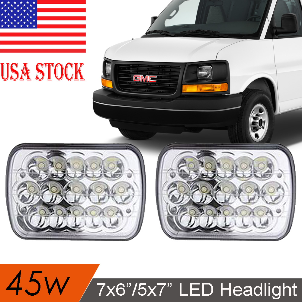 7x6/'/' LED Headlights 45W Clear Sealed Hi//Low Beam For GMC Savana 1500 2500 3500