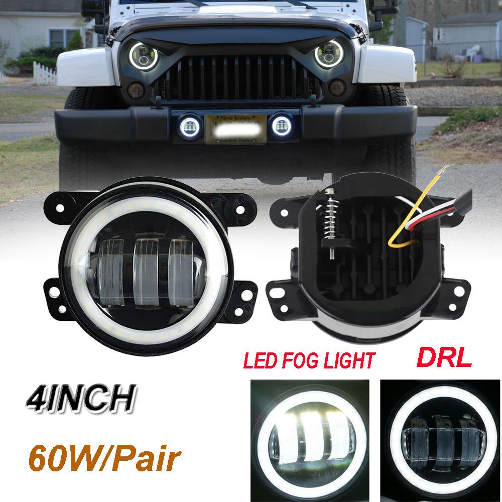 Fit 97-18 Jeep Wrangler TJ JK JKU 30W 4 Inch Halo Fog Lights LED Lamps Pair