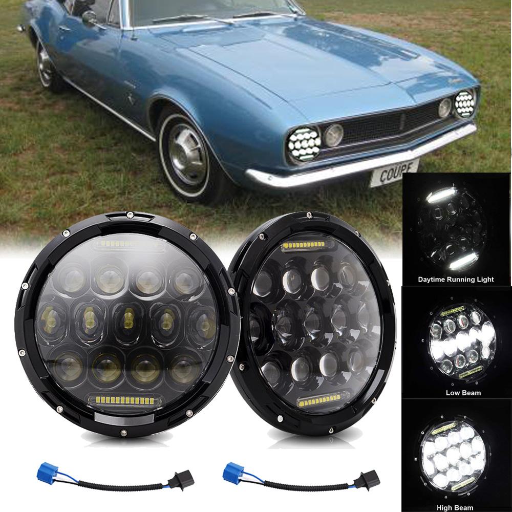"7/"" 150W Round Black LED Headlights DRL Hi//lo Beam For Chevrolet G10 20 30 C10 20"