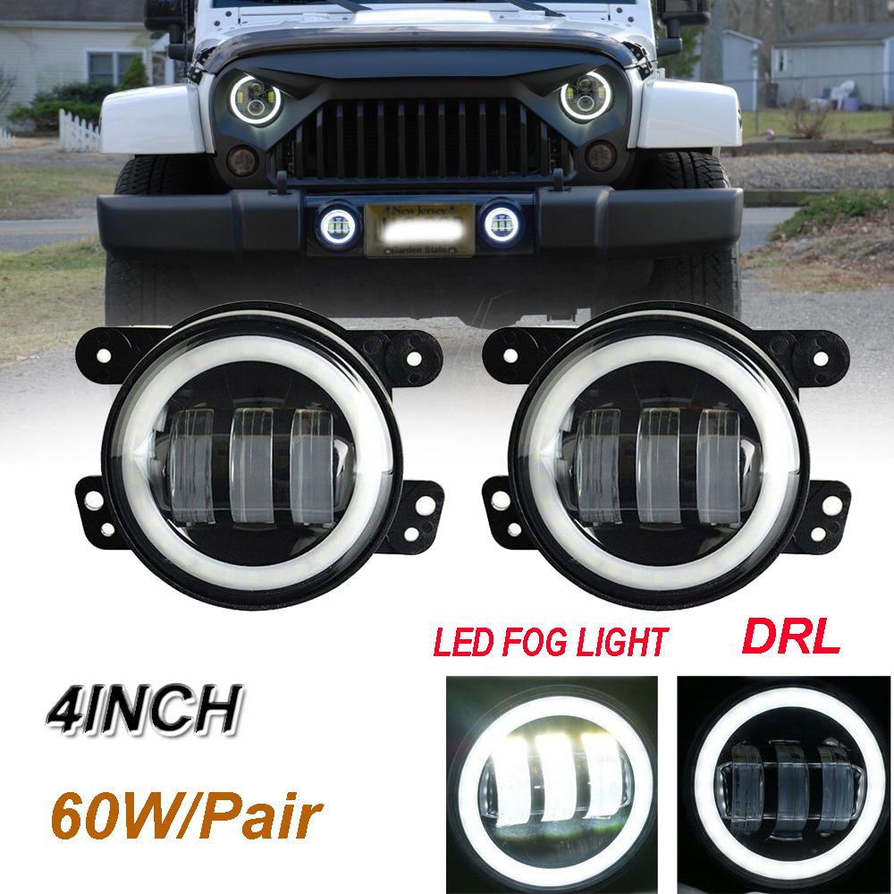 Pair 4Inch 30W LED Fog Lights Driving Lamps 97-17 for Jeep Wrangler JK TJ LJ