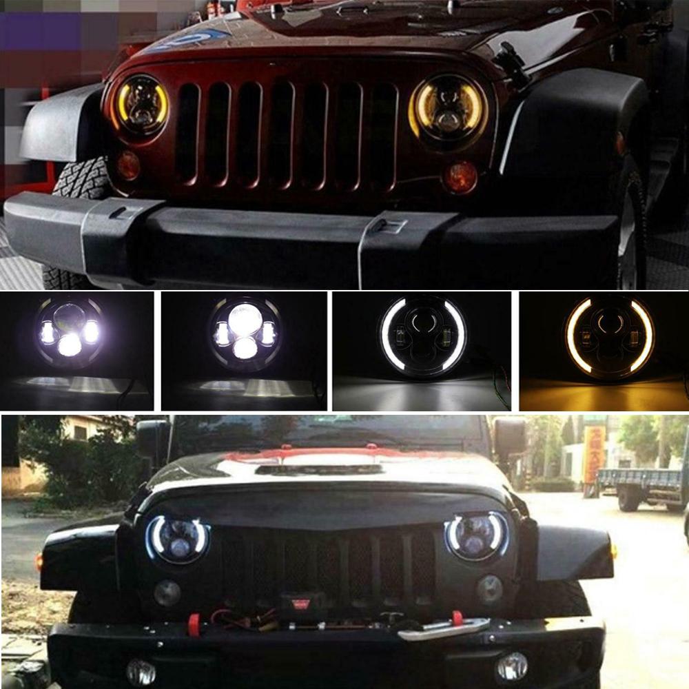 "2X 7/"" INCH 260W LED Headlight Hi//Lo Beam DRL For Jeep Wrangler CJ JK LJ Rubicon"