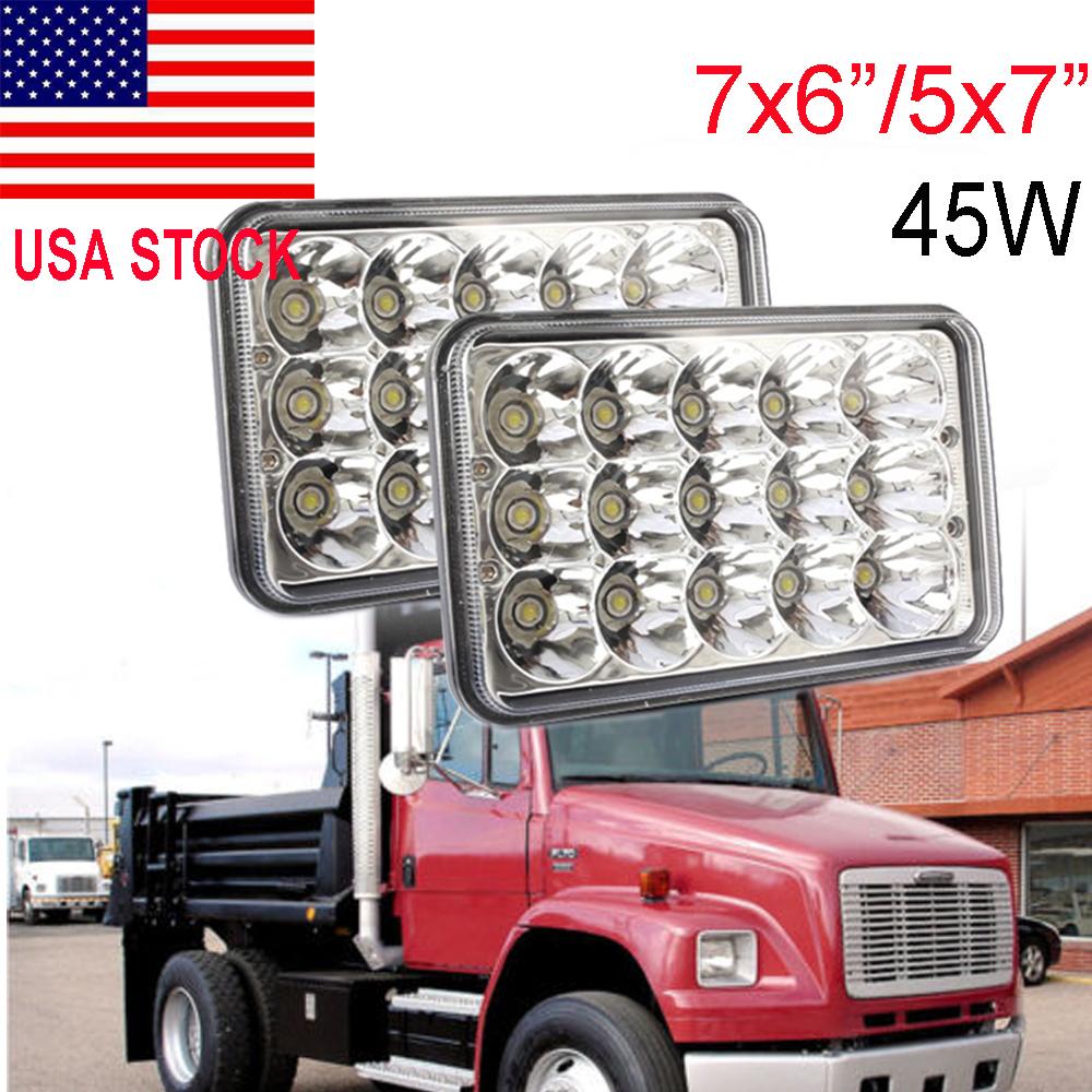 2x 7X6 LED Sealed Beam Headlight for International IHC Assembly 9200 9900 9400i