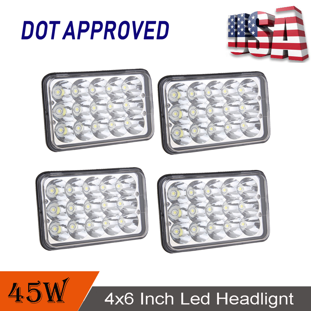 "4X 6/"" Hi//Lo Beam LED Headlights H4656//4651 For Kenworth Peterbilt Freightliner"