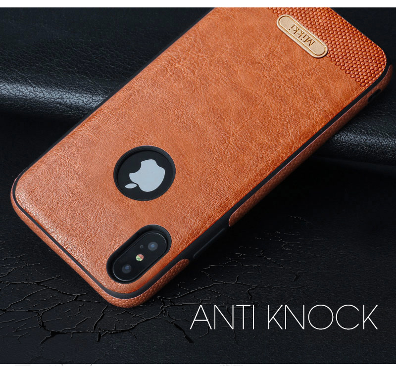 online retailer 73d76 7e862 Details about Mikki Luxury PU Leather Back Skin Case TPU Cover For Apple  iPhone X 7 6/6S Plus