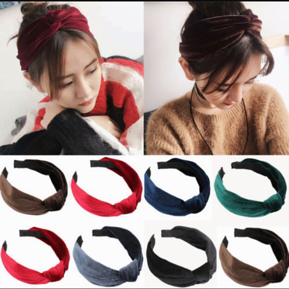 28de7169668f6 Womens Headband Twist Hairband Bow Knot Cross Tie Velvet Headwrap Hair Band  Hoop
