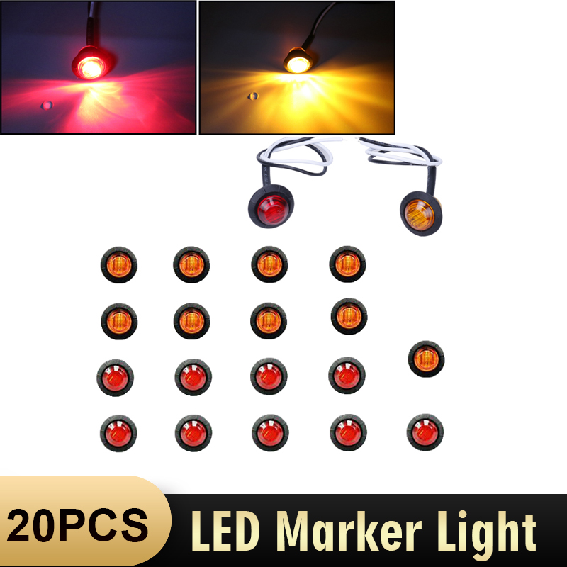 "10X Mini 12V DC Amber 3//4/"" Round Side 3 LED Marker Trailer Bullet License Light"