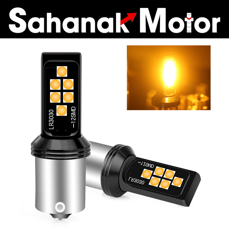 2Pcs BA15S P21W 1156 LED Car Backup Reverse Light White Bulbs 12-SMD 3030 1400Lm