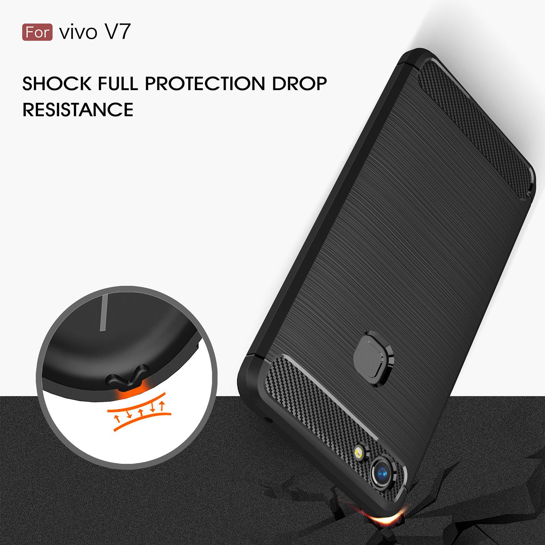 Details about Fashion Carbon Fiber Shockproof Armor Soft TPU Back Cover Case For VIVO V7 v7