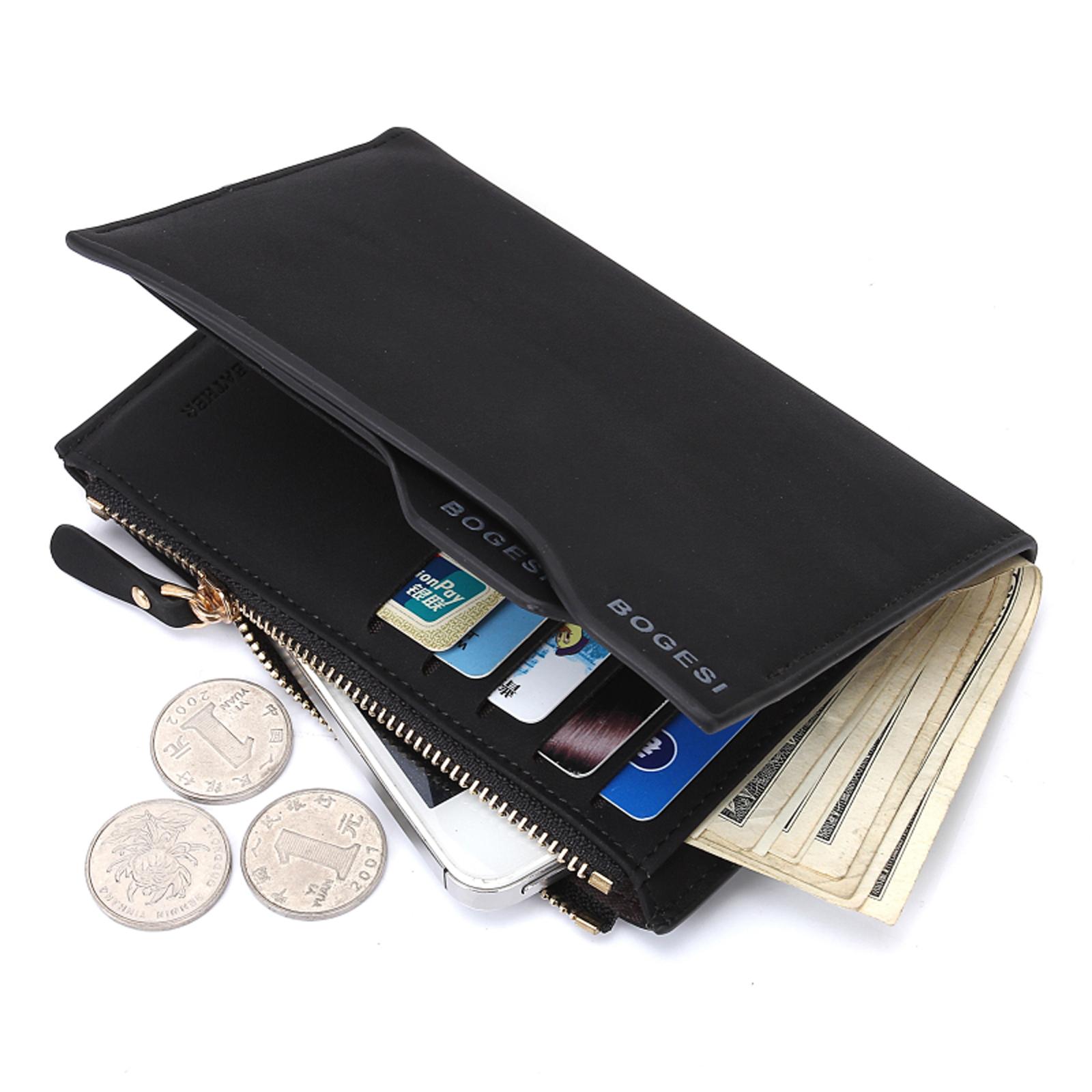 Details about PU Leather Boy Men's Purse Credit Card Pocket Money Clip Zipper Short Wallet
