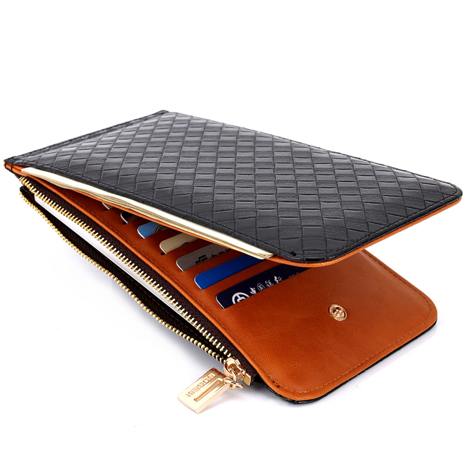Leather Men S Purse Card Mobile Phone Pocket Women S Zipper Money