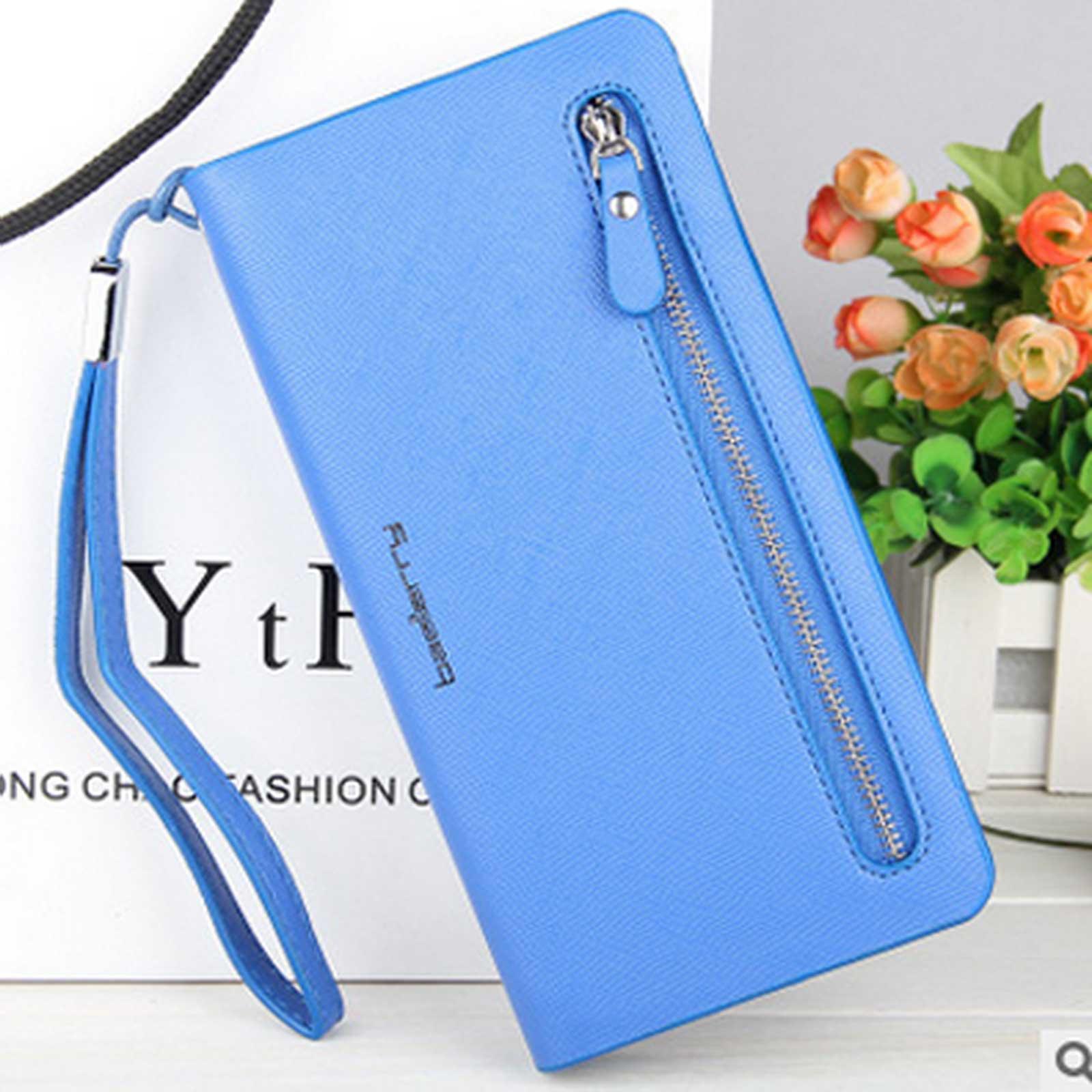 Lady-039-s-Three-Folds-Leather-Korean-Medium-Style-Zipper-Large-Capacity-Wallet