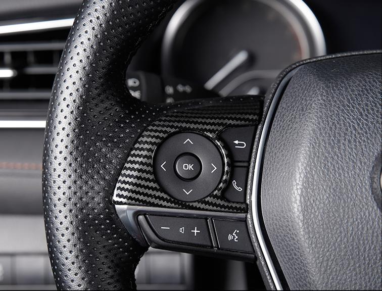 For 2018-2019 Toyota Camry Carbon Fiber Inner Steering Wheel Cover Trim 2PCS