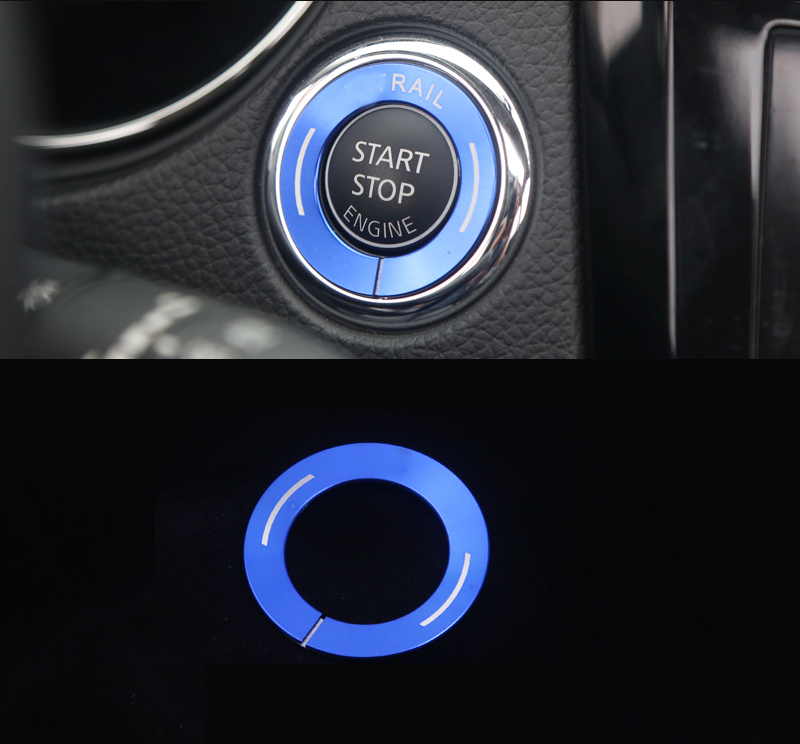 Red Aluminum Alloy One-Button Start Button Cover Trim For Nissan Rogue 2014-2018