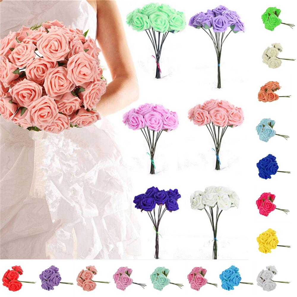 50//100pcs 6.5cm Colourfast Artificial Large Foam Rose Wedding//Craft Flower Decor