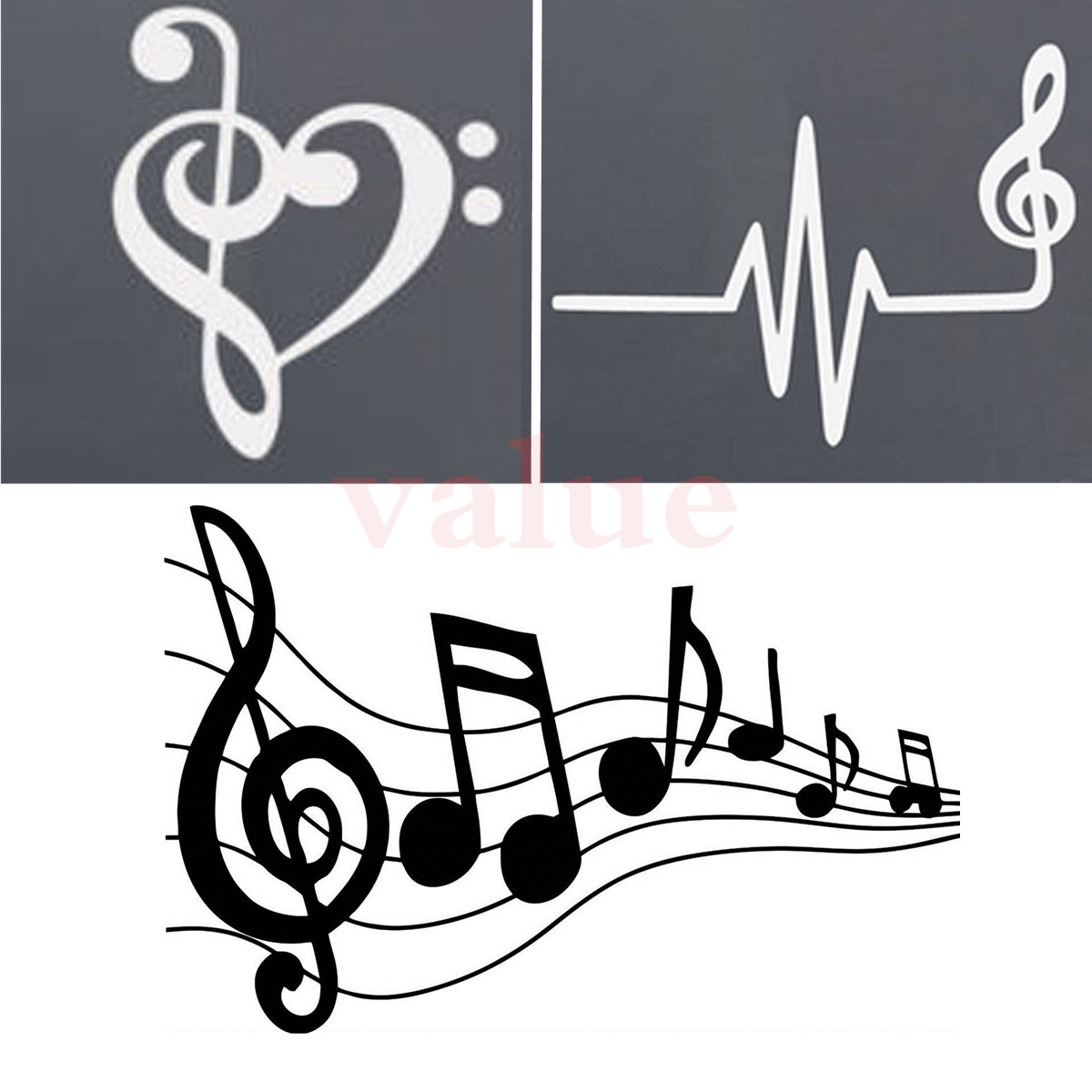 3 Types Music Notes Sticker Decal Car Window Songs Piano