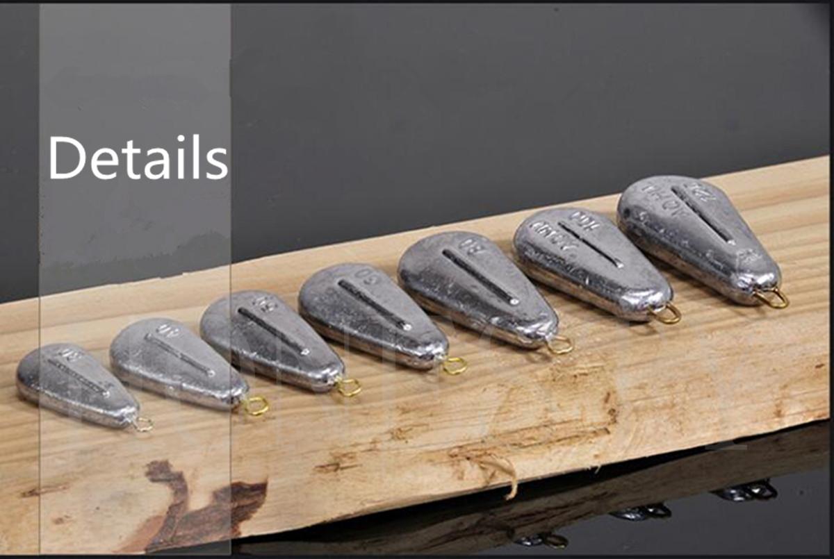 1pc Flat Teardrop-shaped Weights Pure Lead Sinkers Sea Fishing Sinker Tackle