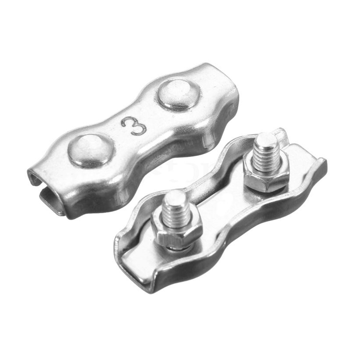 M2 Wire Rope Clip Clamp 304 Stainless Steel Duplex Cable clip (Pack of 20)