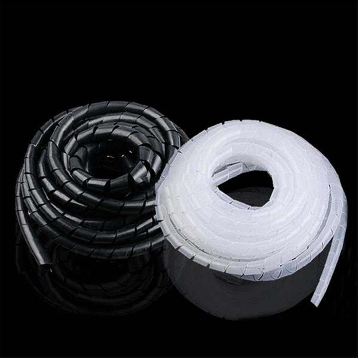 2M 6mm Spiral Cable Wrap Tidy Hide Binding Wire Management PC TV ...