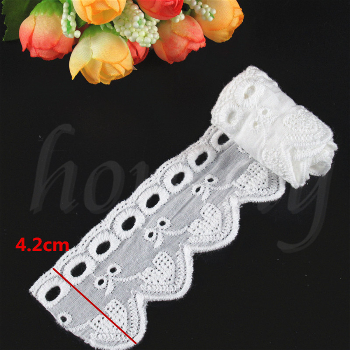 1-Yard-Cotton-Crochet-White-Lace-Trim-Wedding-Ribbon-Embroidered-Sewing-Craft