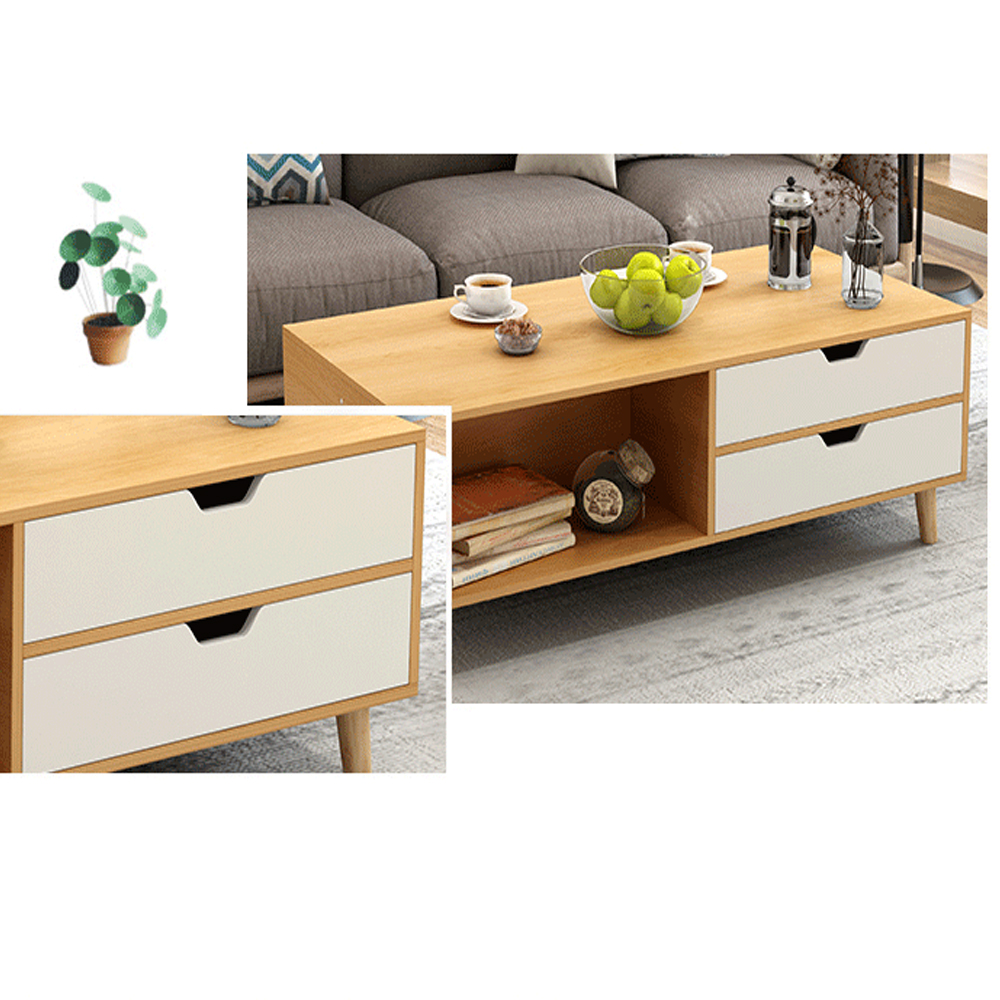Retro TV Stand Storage Cabinet Coffee Bedside Table Set