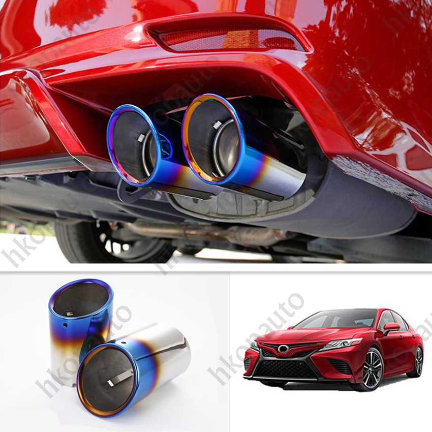 For 2018-2020 Toyota Camry Blue Car Rear Round Exhaust Pipe Tail Muffler Tip 2P