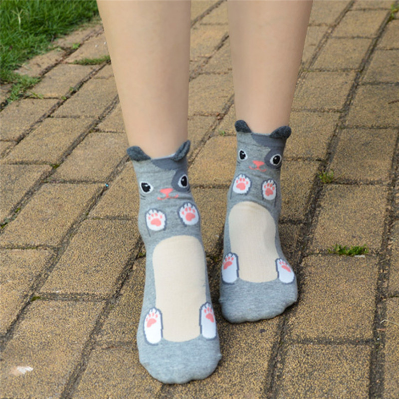 Fashion-Women-Girls-Cute-3D-Animal-Cartoon-Cat-Printed-Casual-Ankle-high-Socks miniature 27