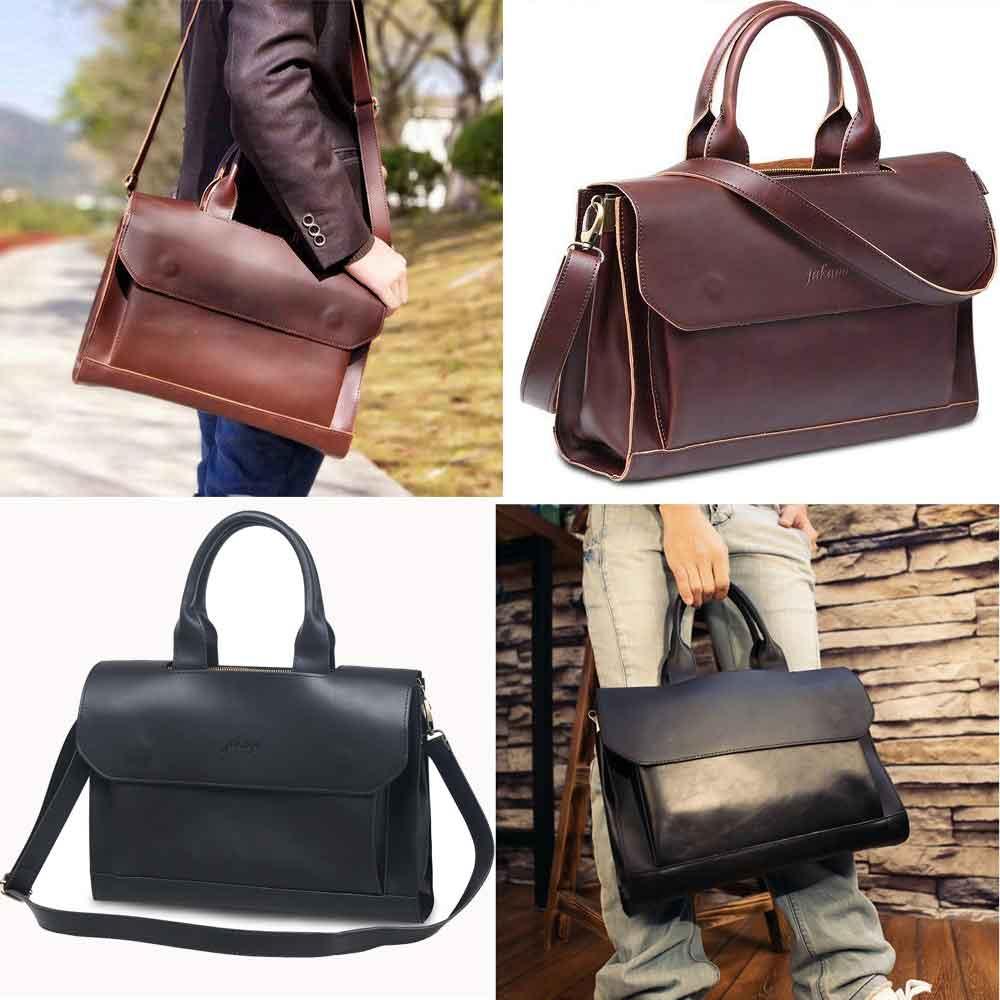 Mens Leather Briefcase Satchel 14-13.3'' Laptop Bag Messenge