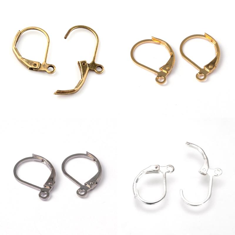 10pcs Platinum Brass Leverback Earwires Hoop Earring Findings Nickel Free 20mm