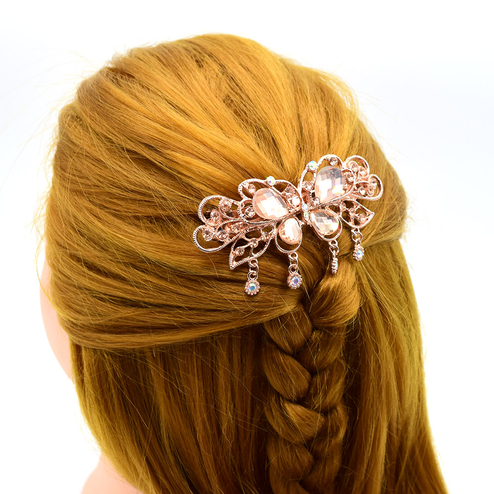 Thick Hair Barrette,Hair Accessory Large Barrette,Hair Clip Shell Barrette  Crystal Vintage French Barrette 100mm