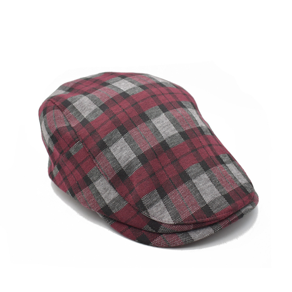 Details about Winter Red Plaid Gatsby Newsboy Cabbie Hat Cotton Flat Ivy Cap  for Women Men cef6b0e1833