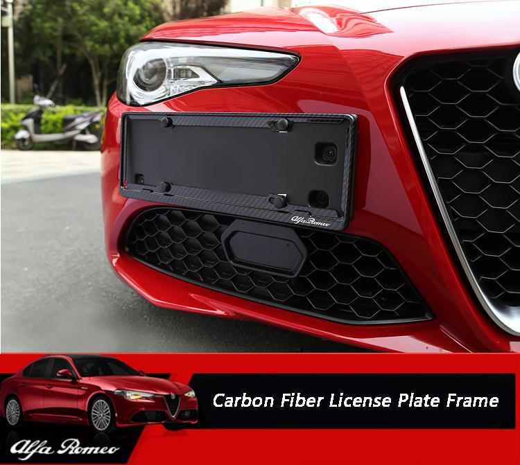 2PCS Alloy Carbon Fiber License Plate Frame Trim For Alfa