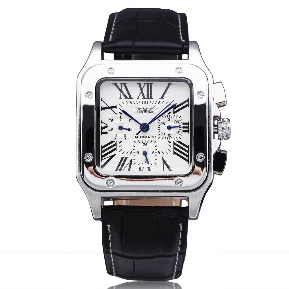 Jaragar Luxury Square Automatic Mechanical Watch Mens Wrist Watches