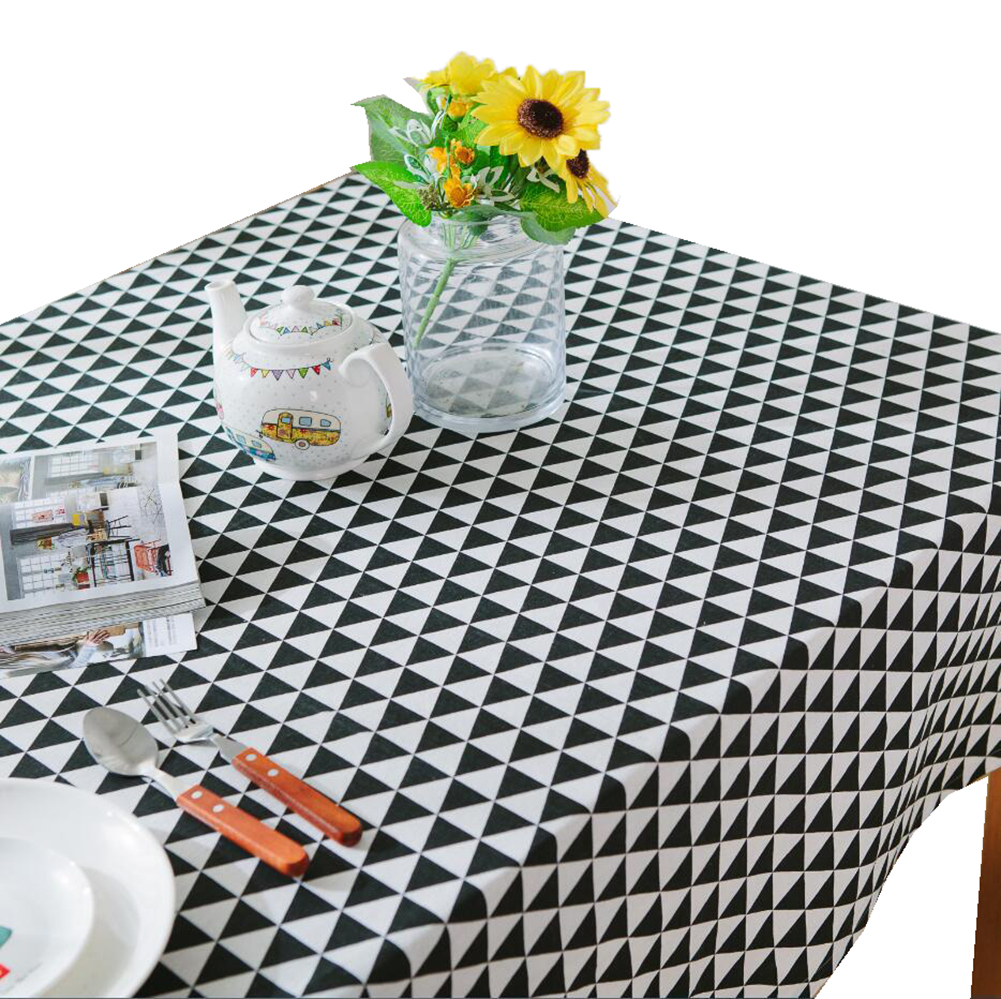 Cotton Linen Triangular Black Plaid Tablecloth Table Runner Cover Mats Placemat