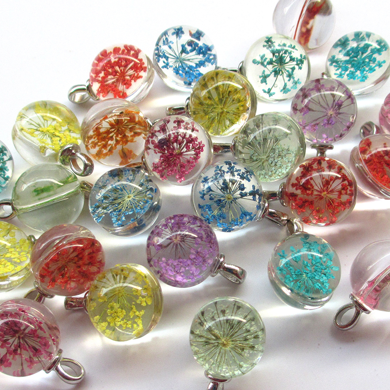 10Pcs Faceted Mini Glass Ball Cap Jewelry Wish Bottle Charm Pendant Finding