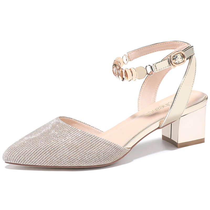 2f10ecec283 Details about Girls Womens Faux Leather Ankle Strap Point Toe Block Heel  Sandal Shoes Fashion