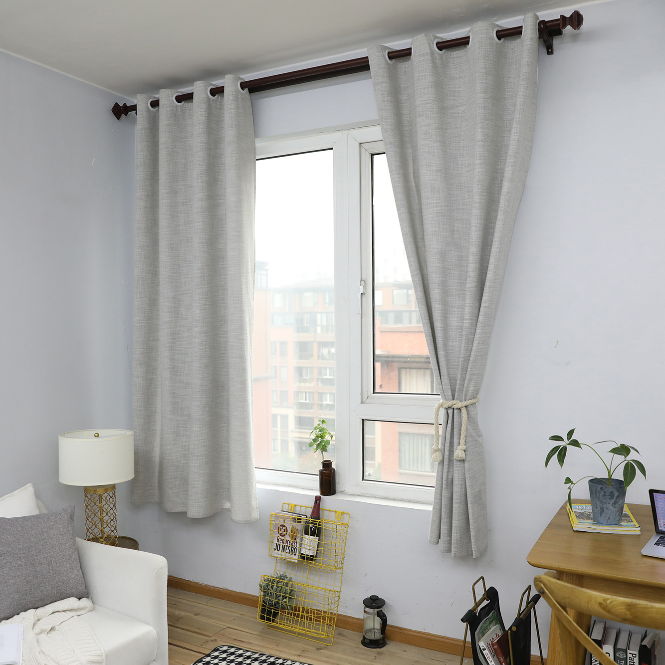 Details About 55 85inch Nordic Solid Thick Curtains Semi Blockout Eyelet Living Room Grey