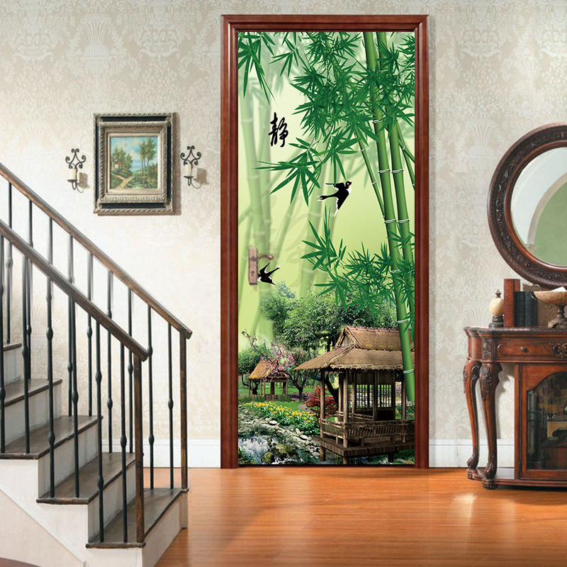 Details About 3d Bamboo Forest Pier Classic Door Stickers Wall Decals Home Decoration Pvc Diy